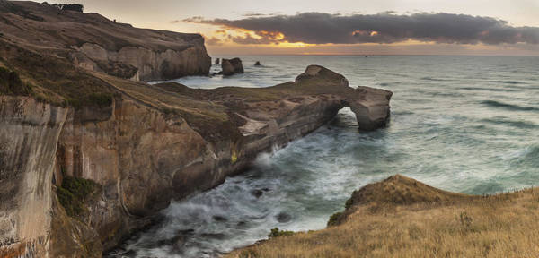 Hedgehog Photograph - Cliffs And Tunnel Beach Otago New by Colin Monteath