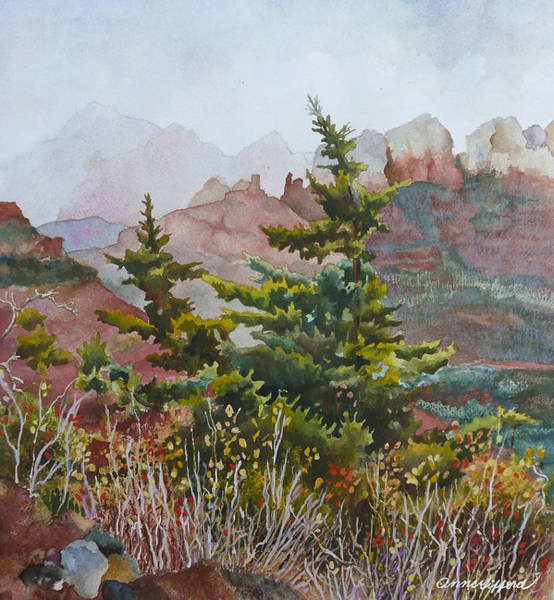 Wall Art - Painting - Cliffs Near Sedona by Anne Gifford