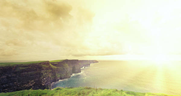 Moher Photograph - Cliffs Of Moher At Sunset . Panoramic by Hoaru