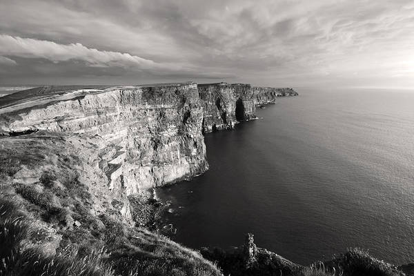 Moher Photograph - Cliffs Of Moher Ireland In Black And White by Pierre Leclerc Photography