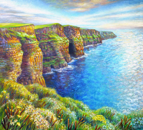 Wall Art - Painting - Cliffs Of Moher by Nancy Tilles