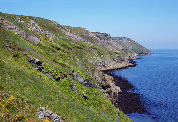 Bristol Channel Photograph - Cliffs Of The East Coast Of Lundy by Allan Baxter
