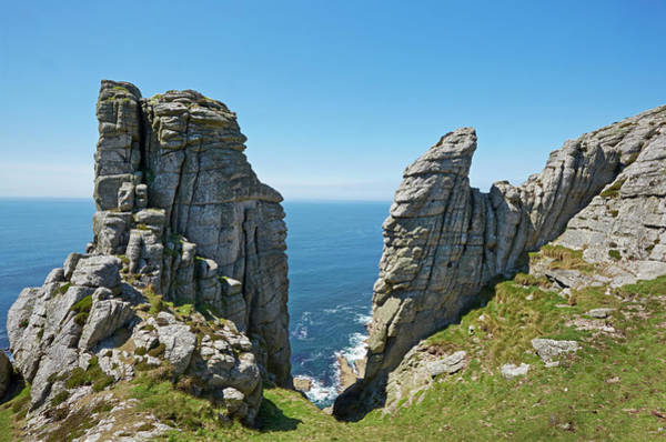 Bristol Channel Photograph - Cliffs On The West Coast Of Lundy Island by Allan Baxter