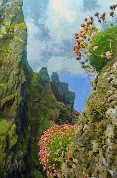 Painting - Cliffside Sea Thrift by Jeffrey Kolker