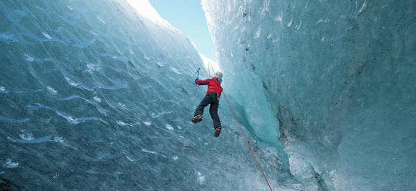 Climbing Photograph - Climber Climbing Out Of Ice Cave by Henn Photography
