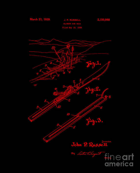 Digital Art - Climber For Skis 1939 Russell Patent Art Neon Red by Lesa Fine