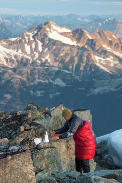 Pemberton Photograph - Climber Lights His Ultralight Stove by Christopher Kimmel