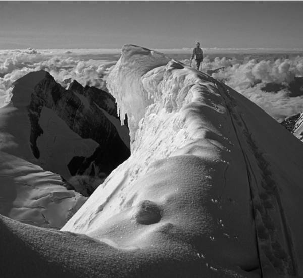Photograph - T-702411-bw-climber On 12000 Ft Cornice Of Mt. Robson by Ed  Cooper Photography