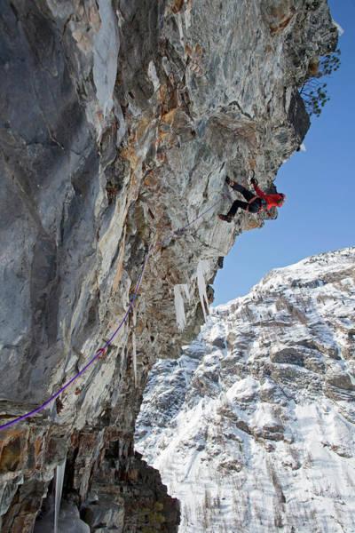 Jedi Photograph - Climber On Hard Steep Mixed Terrain by Jonathan Griffith