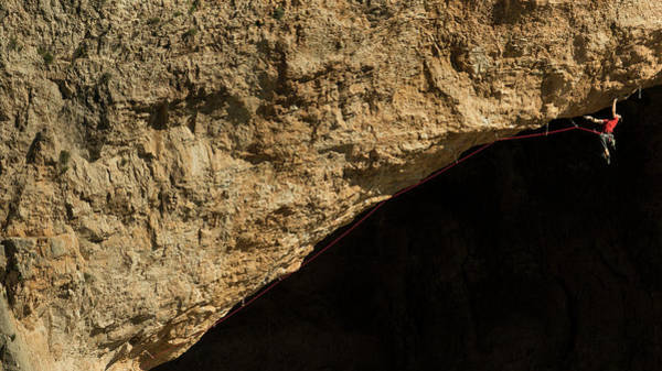Reaching Photograph - Climber Sending A Hard Route Bolted by Alejandroruizphoto