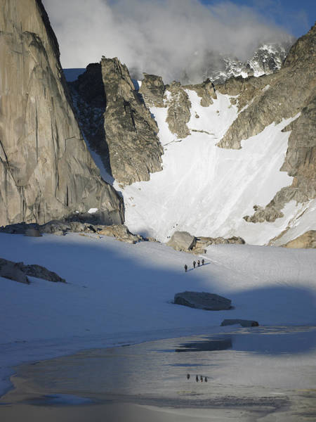 Climbers Enroute To The Bugaboo Snowpatch Col Art Print by Richard Berry