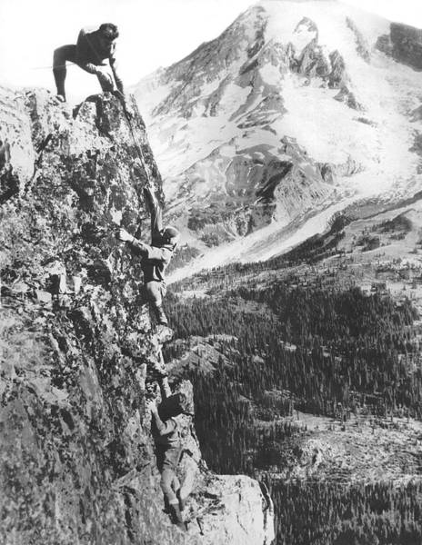 Parks And Recreation Photograph - Climbers On Pinnacle Peak by Underwood Archives