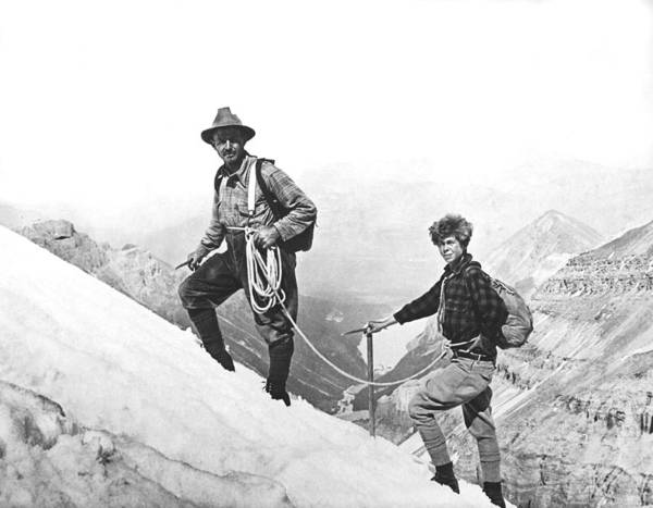 Cock Photograph - Climbing In The Rockies by Underwood Archives