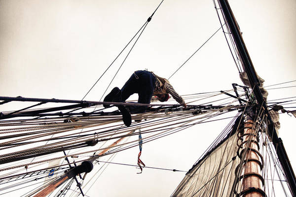 Photograph - Climbing The Rigging by Jeff Folger