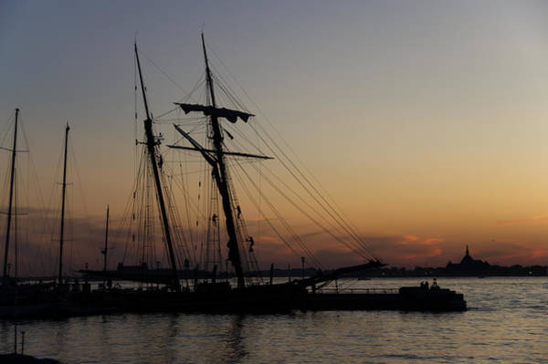Photograph - Climbing The Rigging - Sailors Silhouettes At The Hudson River Waterfront In New York City by Georgia Mizuleva