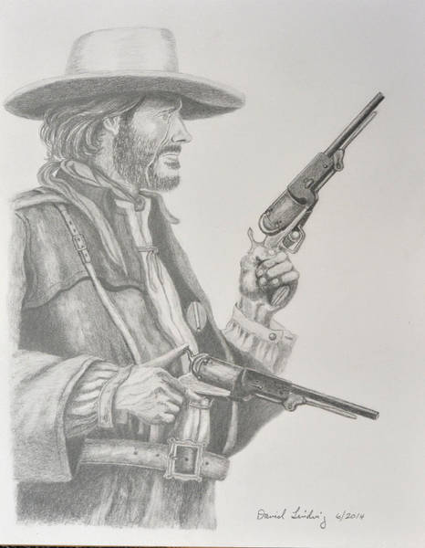 Clint Eastwood Drawing - Clint Eastwood As Josey Wales by Daniel Lindvig