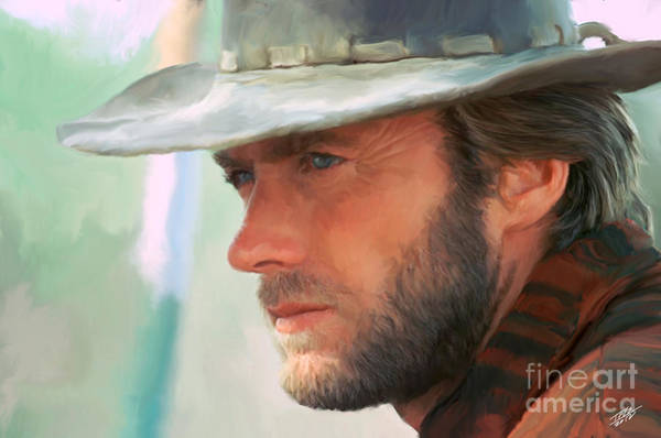 Shower Curtain Painting - Clint Eastwood by Paul Tagliamonte