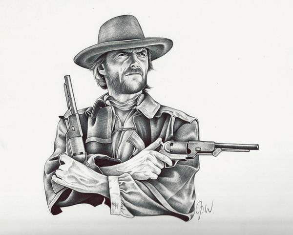 Clint Eastwood Drawing - Clint by Jamie Warkentin