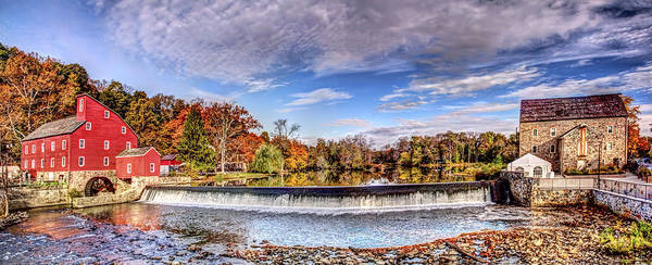 Wall Art - Digital Art - Clinton Nj Historic Red Mill Pano by Geraldine Scull
