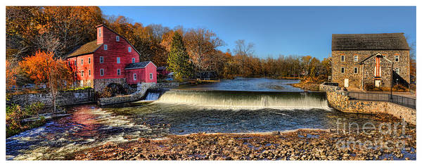 Textile Mill Photograph - Clinton Red Mill House White Border Panoramic  by Lee Dos Santos