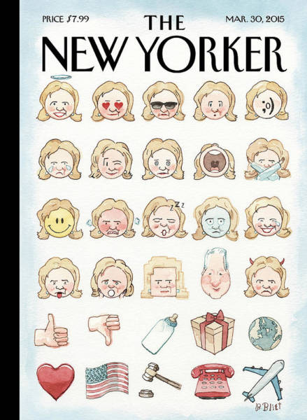 Clinton's Emoji Art Print by Barry Blitt