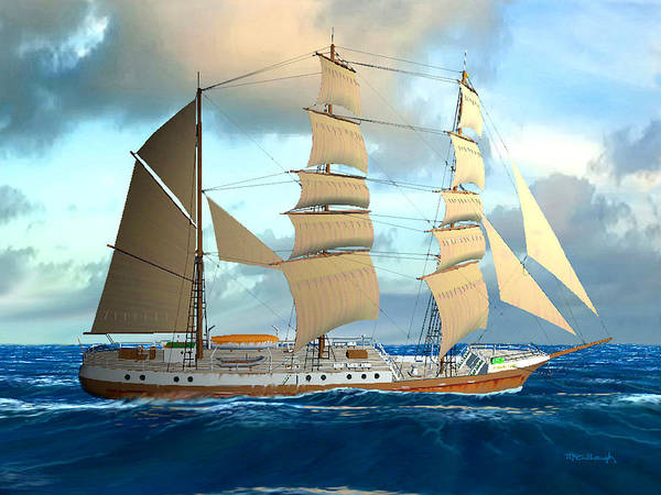Digital Art - Clippership Undersail Filtered by Duane McCullough