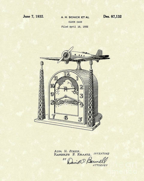 Wall Art - Drawing - Clock Case 1932 Patent Art by Prior Art Design