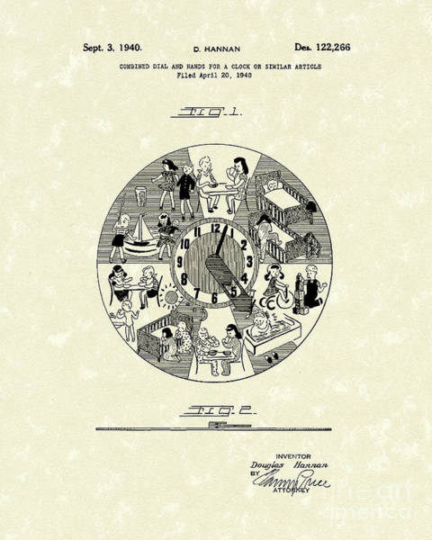 Drawing - Clock Hands 1940 Patent Art by Prior Art Design
