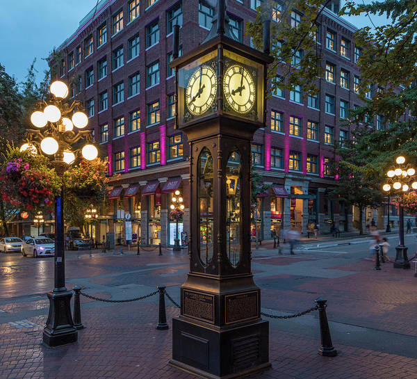 Wall Art - Photograph - Clock In The Gastown, Vancouver by Chuck Haney