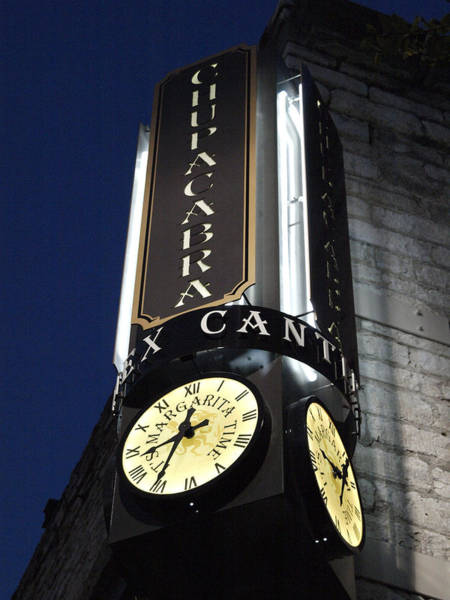 Cantina Photograph - Clock Sign Chupacabra Cantina by James Granberry