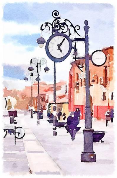 Town Square Digital Art - Clock Street by Yury Malkov