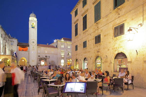 The Clock Tower Photograph - Clock Tower And Restaurants At Dusk by Frank Fell / Robertharding