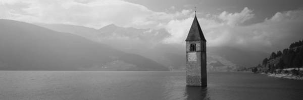 Wall Art - Photograph - Clock Tower In A Lake, Reschensee, Italy by Panoramic Images