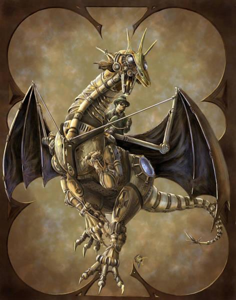 Steampunk Painting - Clockwork Dragon by Rob Carlos