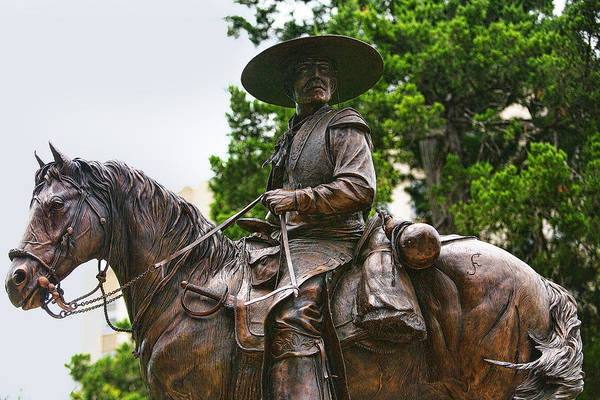 Trapping Photograph - Close Bronze Sculpture Of Early Texas Cowboy by Linda Phelps