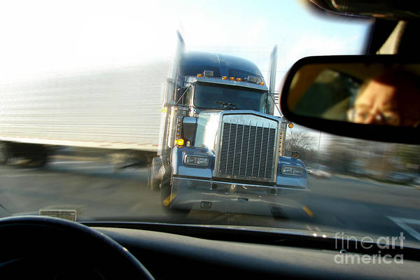 Semi Truck Photograph - Close Call by Olivier Le Queinec