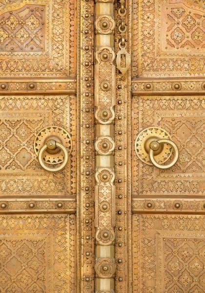 Doorknob Photograph - Close Up Indian Doorway by Grant Faint