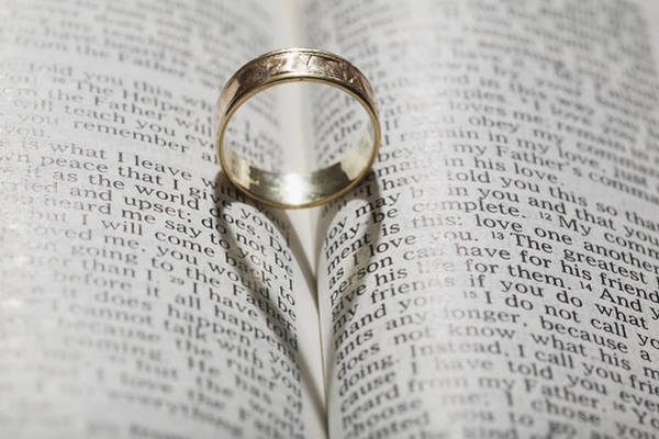 Together Forever Photograph - Close Up Of A Gold Ring With The Shadow by Michael Interisano