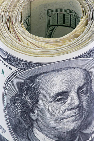 Close-up Of A Roll Of Us $100 Bills Art Print by Jaynes Gallery