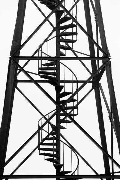 Wall Art - Photograph - Close-up Of A Spiral Stairway Leading by Ron Koeberer