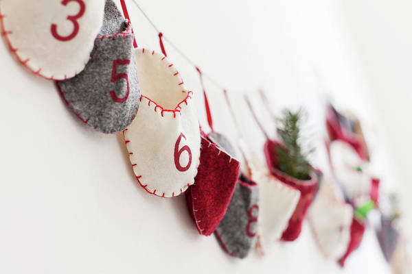 Decoration Photograph - Close Up Of Advent Calendar On Wall by Nils Hendrik Mueller