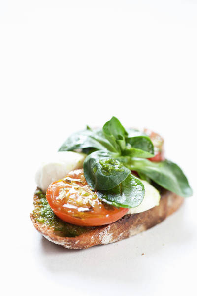 Food Photograph - Close Up Of Bread With Cheese And Tomato by Henn Photography