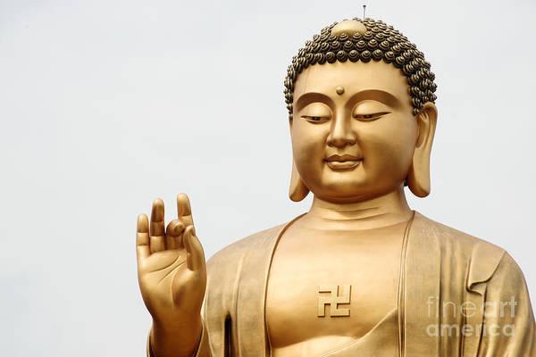 Photograph - Close Up Of Buddha Statue by Yew Kwang