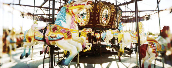 Merry Go Round Photograph - Close-up Of Carousel Horses, Coney by Panoramic Images