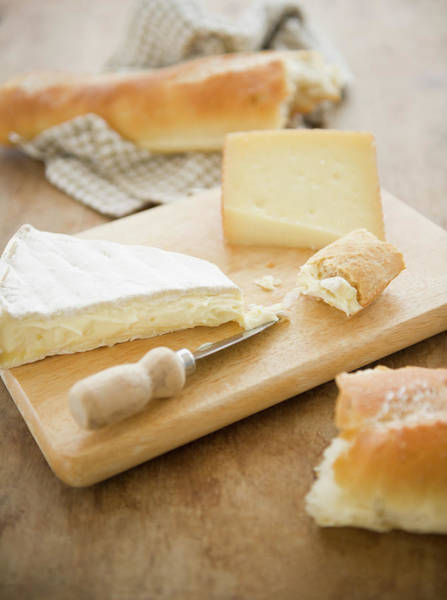 Napkin Photograph - Close Up Of Cheese And Baguette On by Tetra Images - Jamie Grill