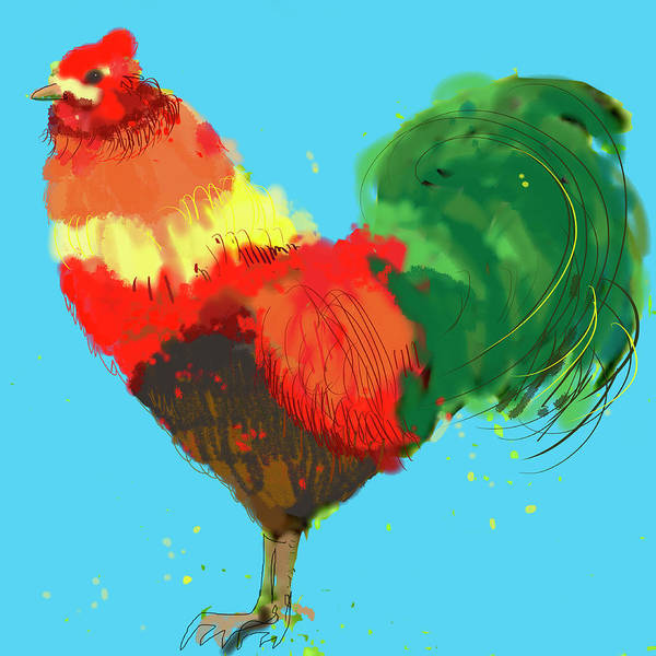 Rooster Digital Art - Close Up Of Colorful Rooster by Jan Richter