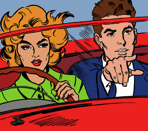 Close Up Of Couple Driving Red Art Print