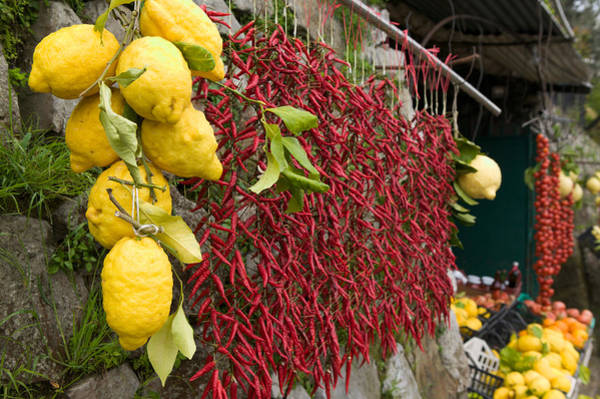 Fruit Stand Wall Art - Photograph - Close-up Of Lemons And Chili Peppers by Panoramic Images
