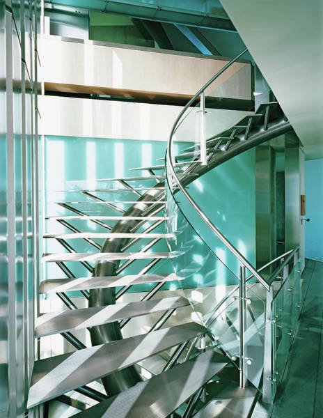 No People Photograph - Close-up Of Modern Staircase by Erhard Pfeiffer