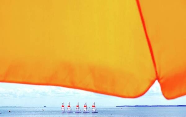 Parasol Photograph - Close-up Of Parasol Against Boats On Sea by Alexandre Levrai / Eyeem